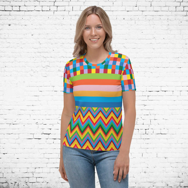 65 MCMLXV Women's Multi-Color TV Screen Test Print T-Shirt-Tee Shirt-65mcmlxv