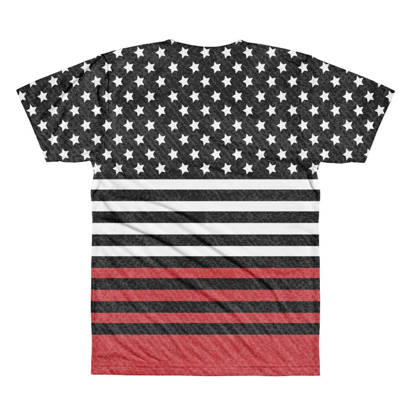 Tee Shirt - Men's Americana Black And Red USA Flag Print T-Shirt
