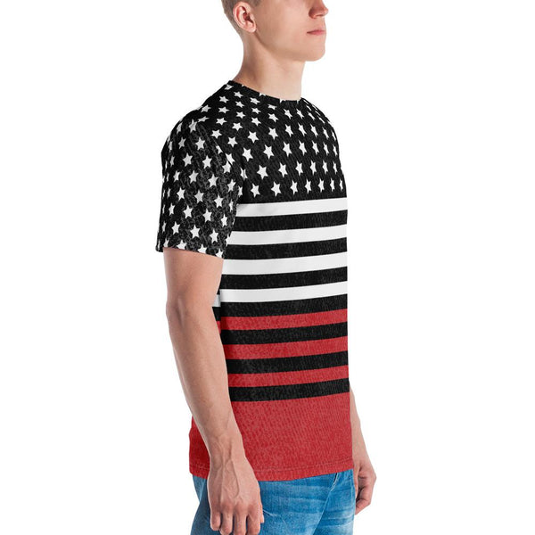 65 MCMLXV Men's Americana Black and Red USA Flag Print T-Shirt-Tee Shirt-65mcmlxv