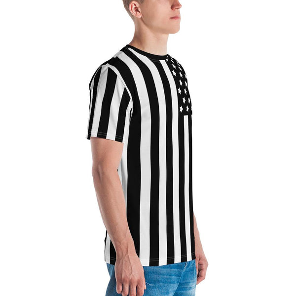 Tee Shirt - Men's Black & White Americana Flag Print T-Shirt
