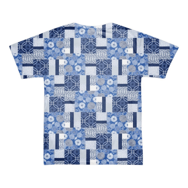 Tee Shirt - Men's Indigo Patchwork Print T-Shirt