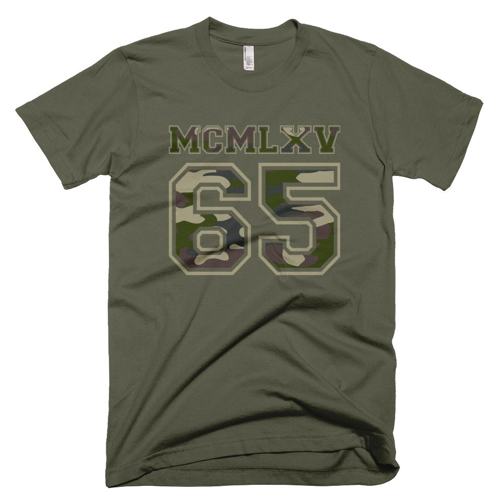 65 MCMLXV Men's Jungle Camouflage Varsity Logo Graphic T-Shirt-Tee Shirt-65mcmlxv