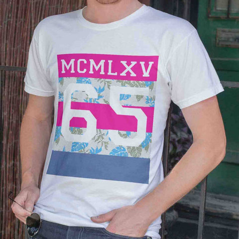 65 MCMLXV Men's Tropical Neon Stripe Varsity Logo Graphic T-Shirt-Tee Shirt-65mcmlxv