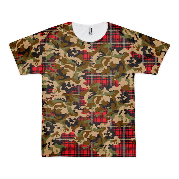 Tee Shirt - Men's Woodland Camouflage & Red Plaid Print T-Shirt