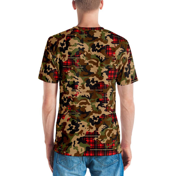 65 MCMLXV Men's Woodland Camouflage & Red Plaid Print T-Shirt-Tee Shirt-65mcmlxv