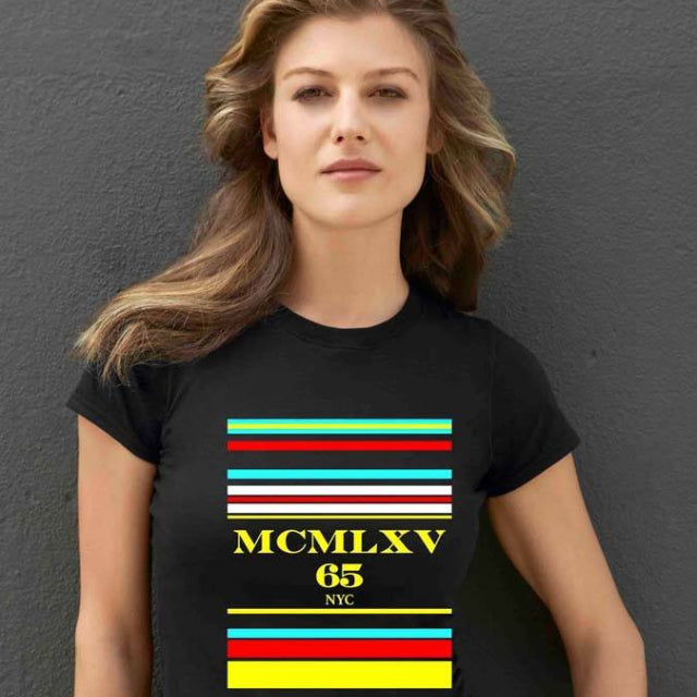65 MCMLXV Women's Multi Stripe Logo Graphic T-Shirt-Tee Shirt-65mcmlxv