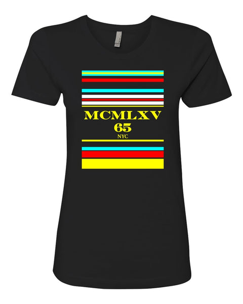 Tee Shirt - Women's Multi Stripe Logo Graphic T-Shirt