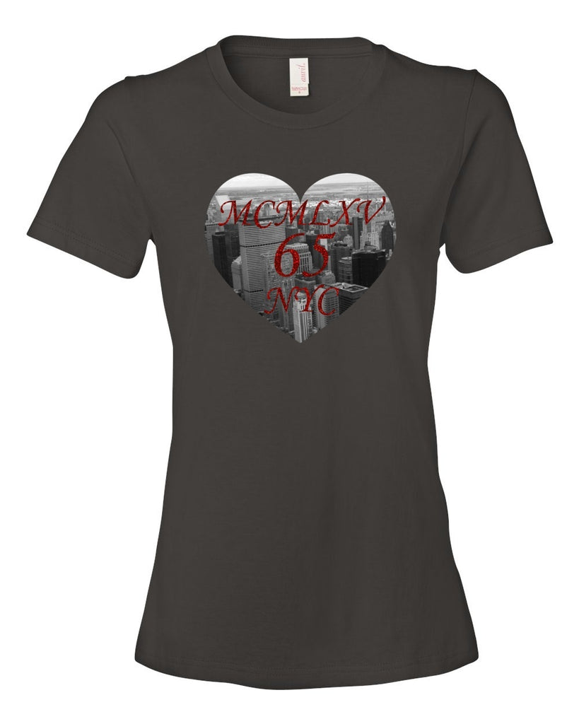 65 MCMLXV Women's NYC Heart Graphic T-Shirt-Tee Shirt-65mcmlxv