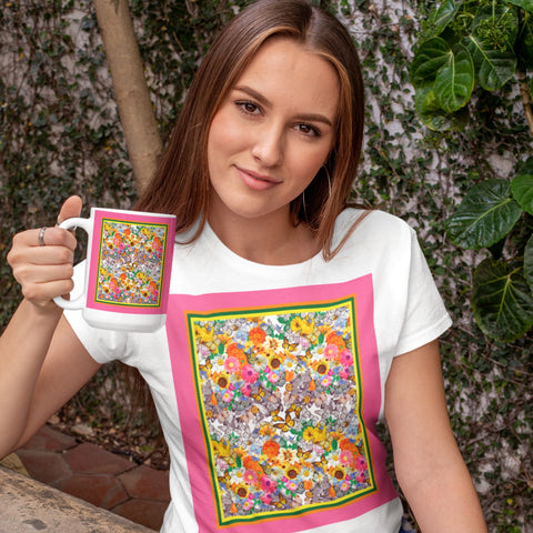 Women's Premium T-Shirt - 65 MCMLXV Butterflies & Flowers Women's Premium Graphic T-Shirt