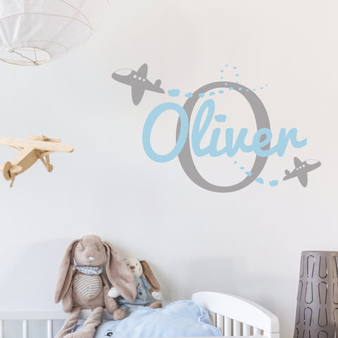 Childrens personalised plane monogram wall sticker