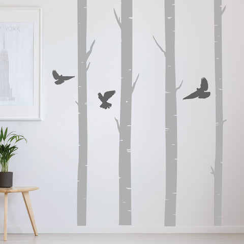 Silver birch tree wall stickers home