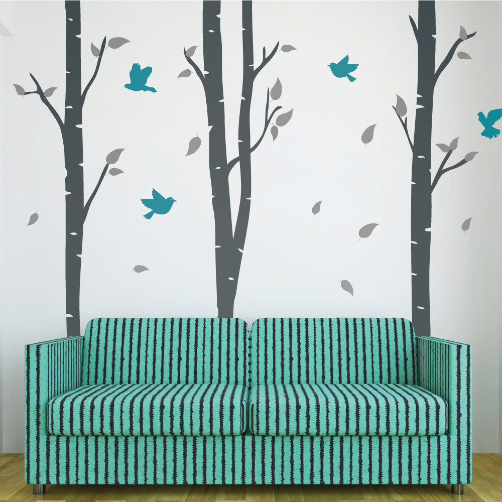 Birch trees and birds wall stickers by wallboss wallboss wall birch tree wall sticker decals amipublicfo Choice Image