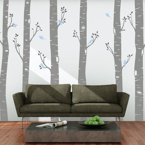 Large Birch Tree Forest Wall Stickers