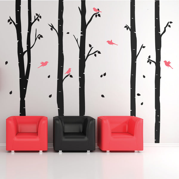 Birch Trees With Birds And Leafs Wall Stickers