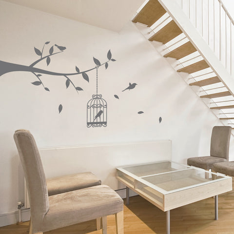 Bird Cage Tree Branch Wall Sticker
