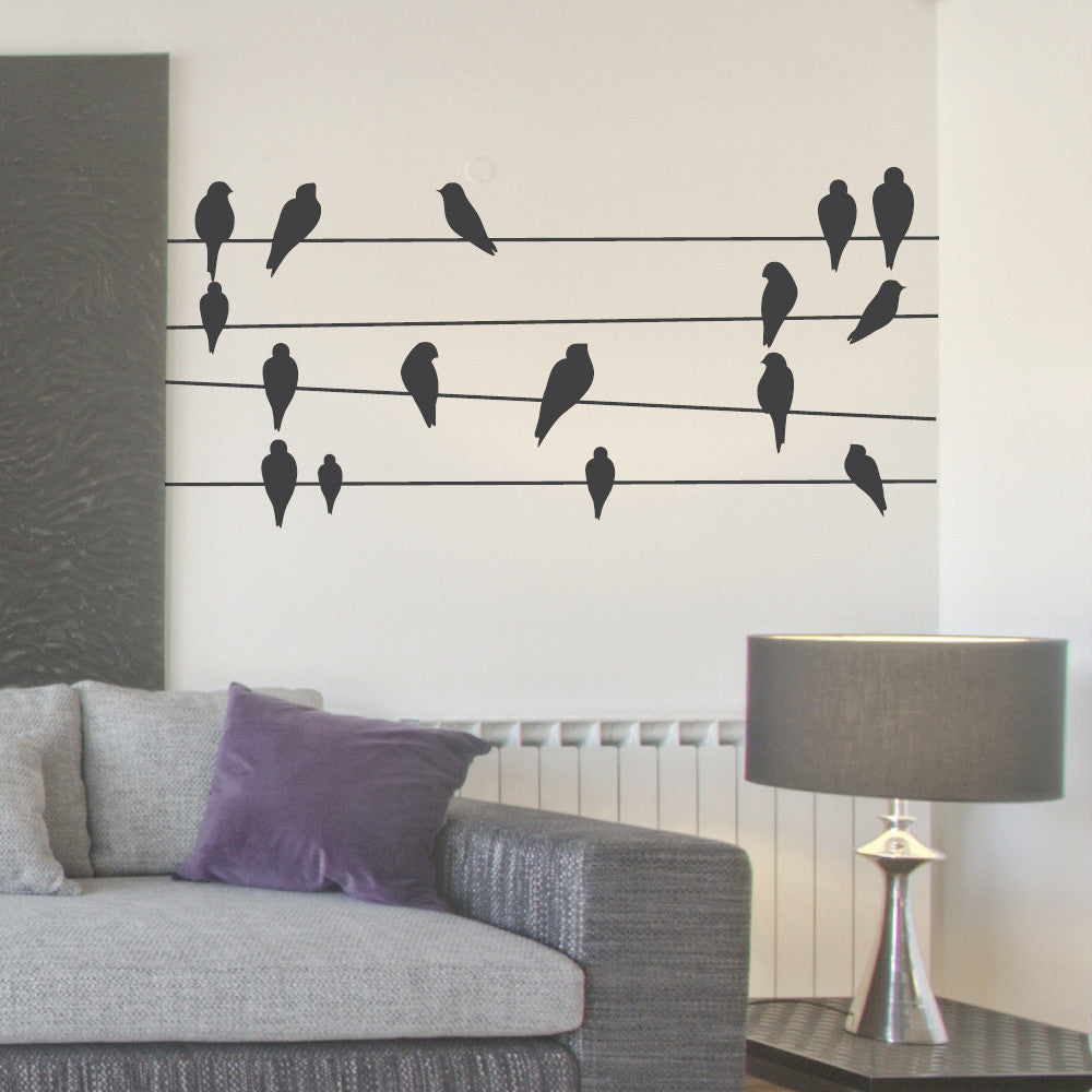 Birds on wires wall vinyl sticker by wallboss wallboss wall birds on wires wall vinyl by wallboss amipublicfo Images