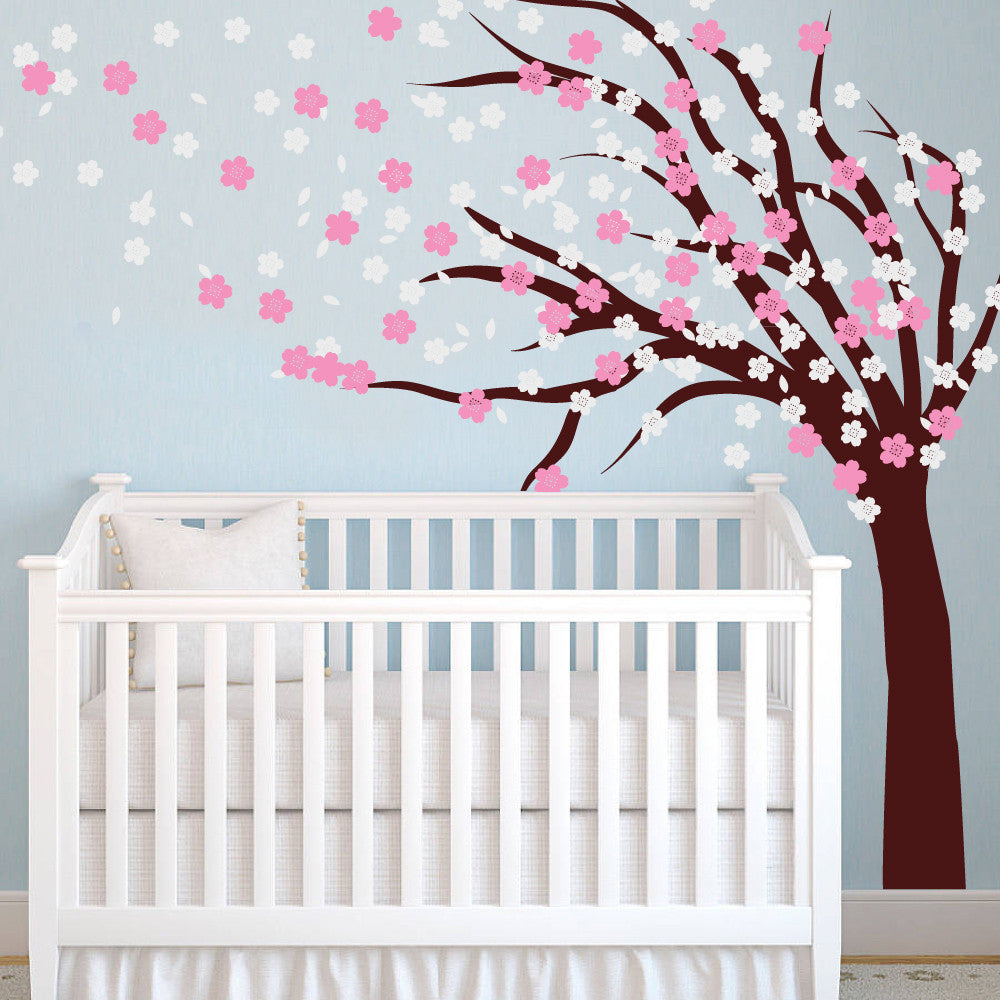 nursery blossom tree sticker blowing in the wind decal uk wallboss wall stickers wall art. Black Bedroom Furniture Sets. Home Design Ideas