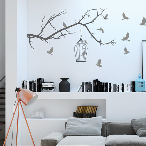 Tree Branch With Birds Wall Sticker