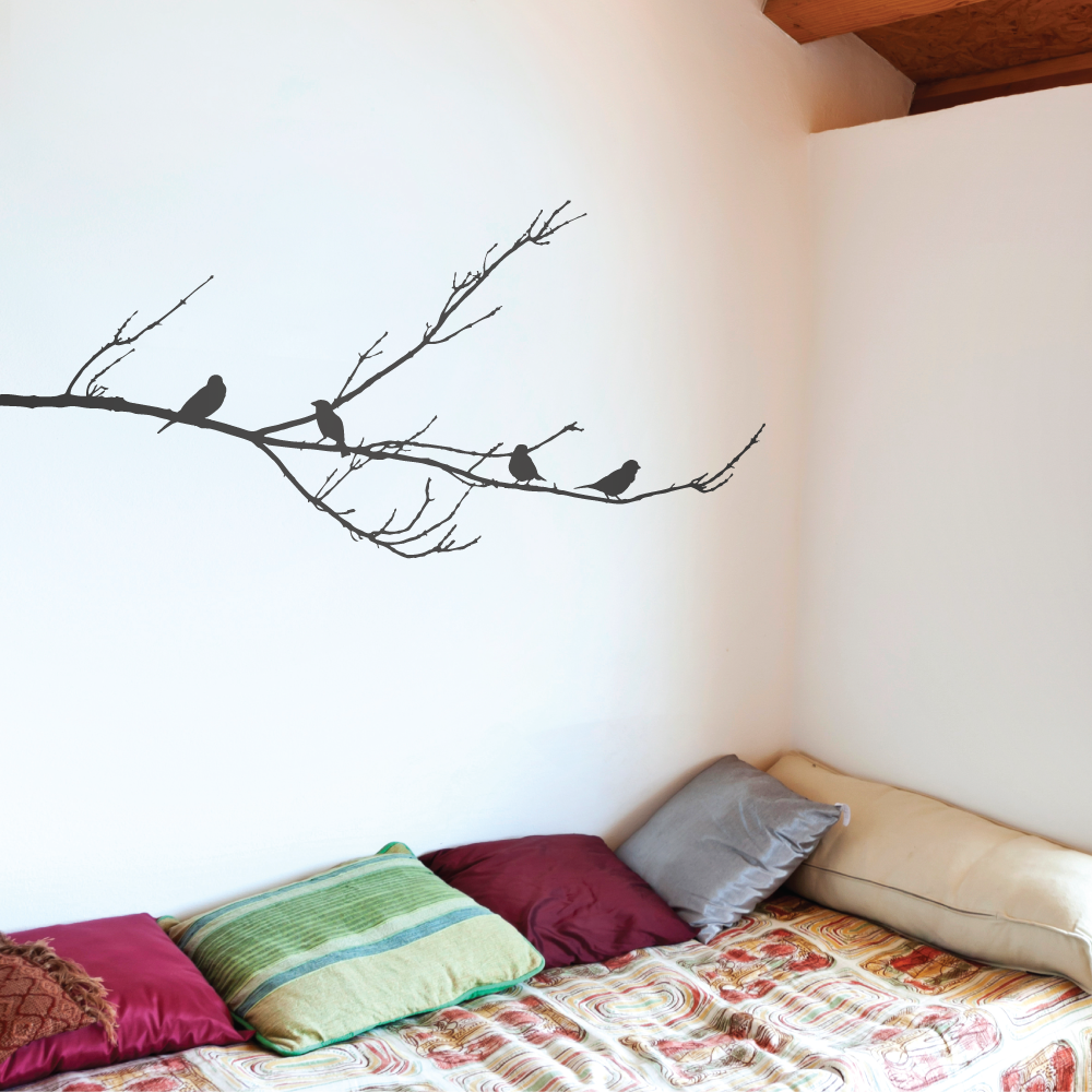 Sparrows tree wall stickers uk blossom tree decals for living room branch with sparrows wall sticker thecheapjerseys Gallery