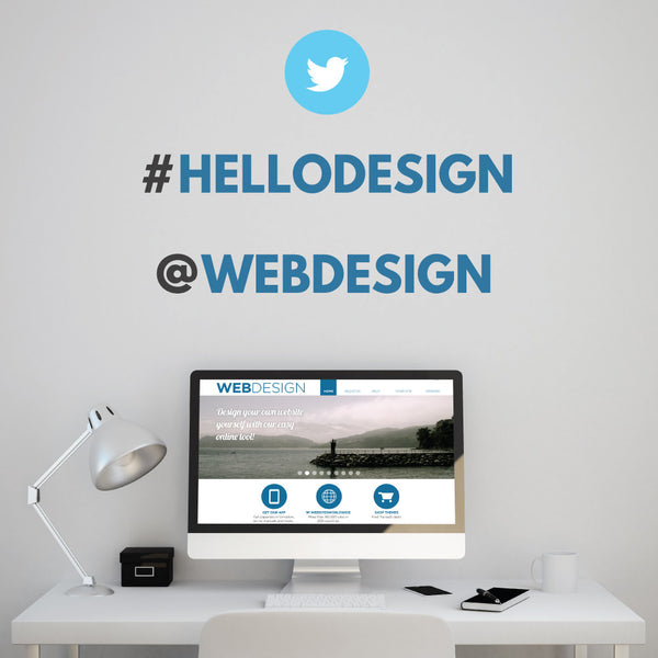 Personalised Twitter Hashtag Wall Stickers