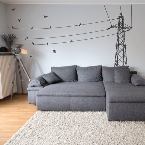 Electric Power Lines Birds Wall Decals