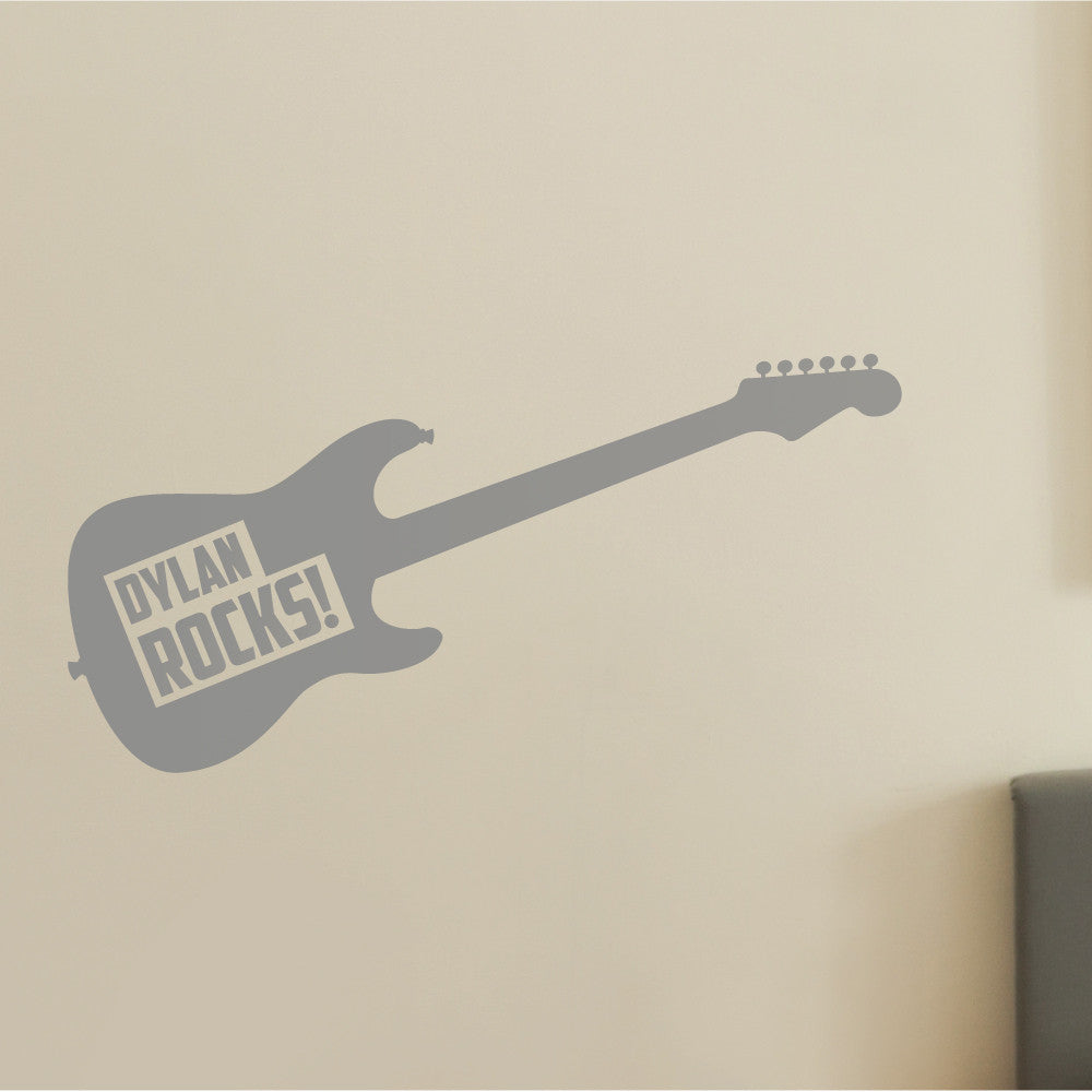 Personalised Guitar Wall Sticker For Kids And Childrens Bedroom