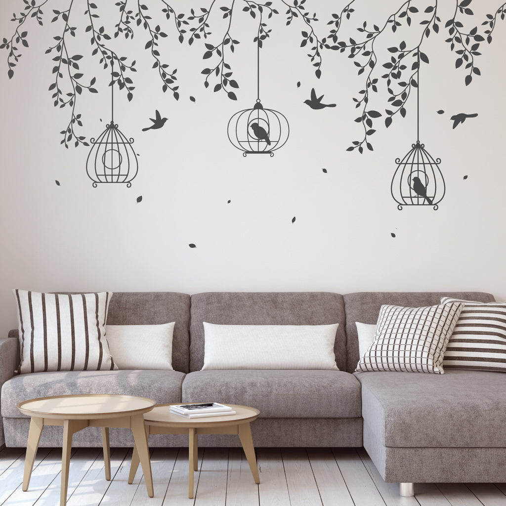 Hanging branches with bird cages wall stickers wallboss wall hanging branches bird cage wall stickers amipublicfo Gallery
