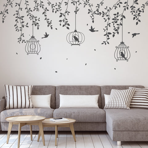 Hanging Branches Bird Cage Wall Stickers