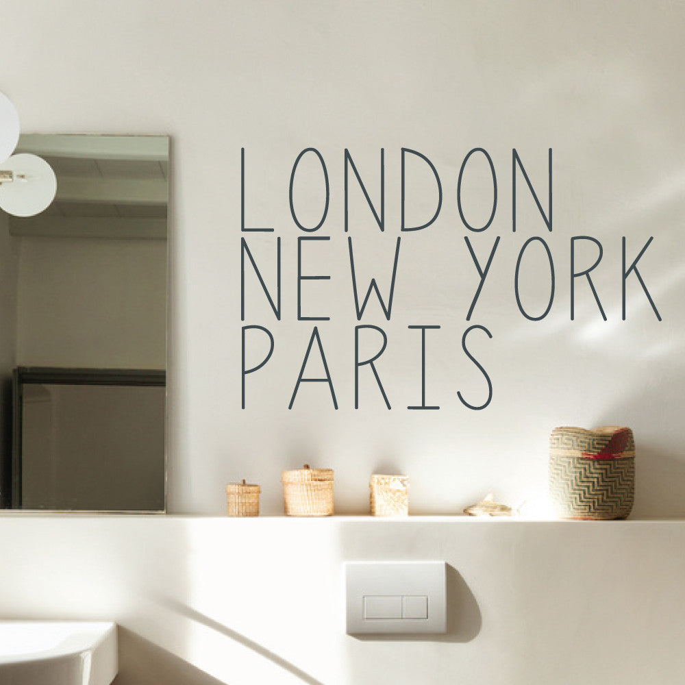 Three Cities New York London And Paris Wall Sticker By