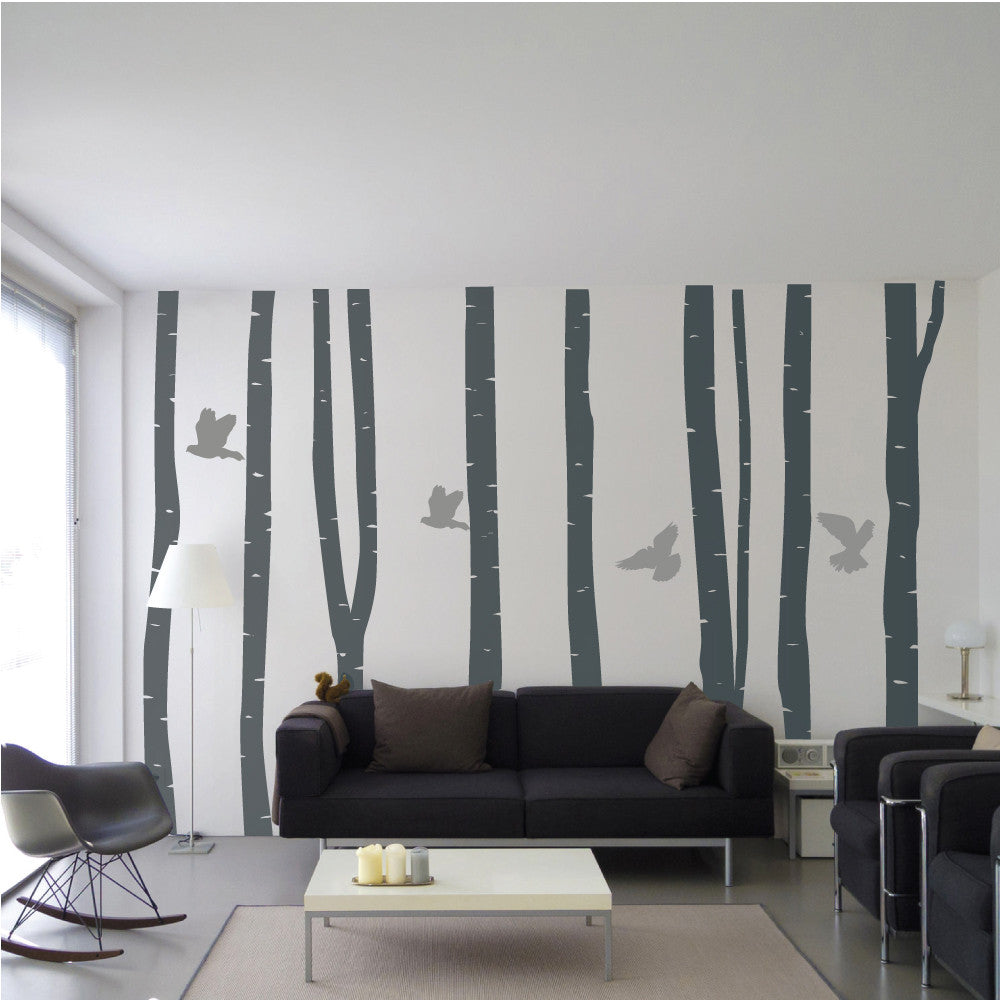 Contemporary silver birch tree forest wall decals wallboss wall silver birch forest wall stickers amipublicfo Choice Image
