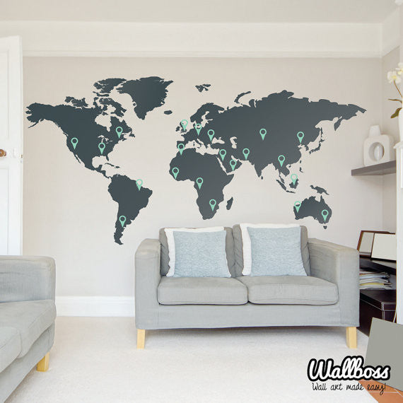 Map Of The World Decal.World Map Wall Sticker Wallboss Wallboss Wall Stickers Wall