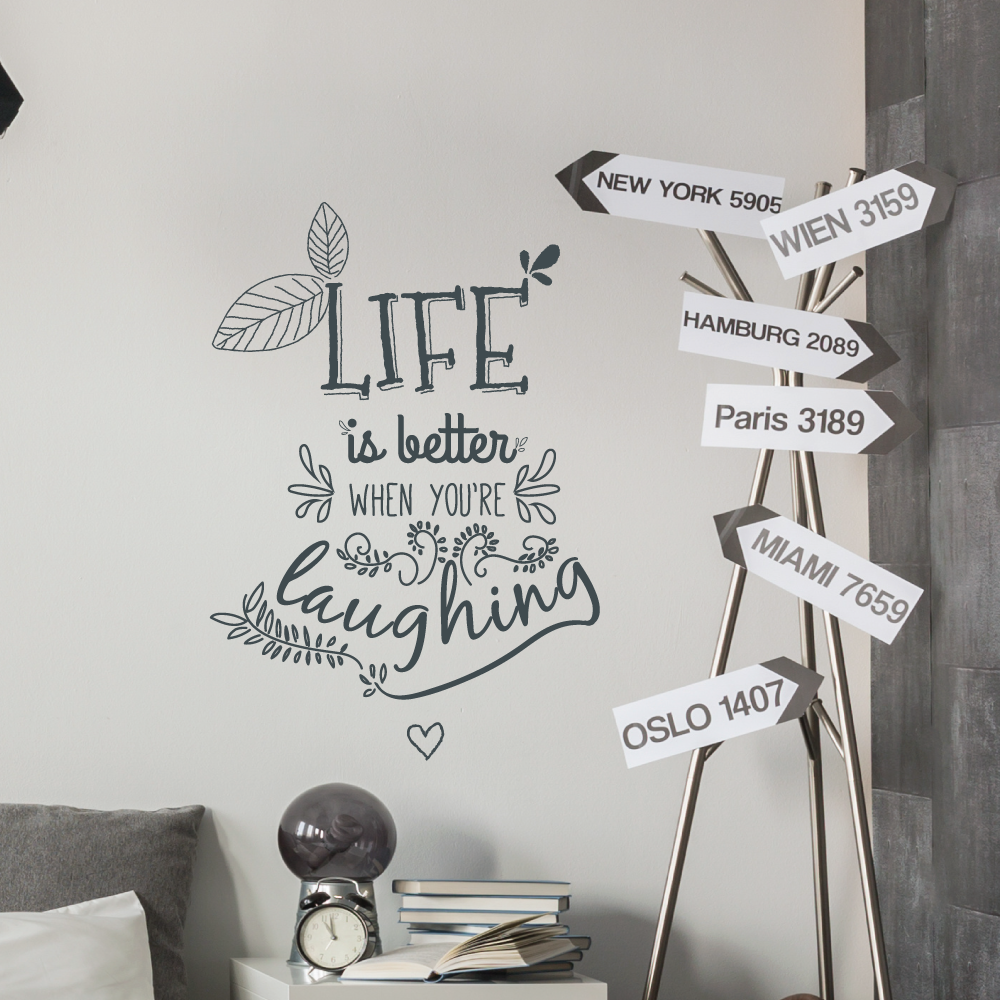 Life And Laughter Floral Wall Quote Sticker Wallboss