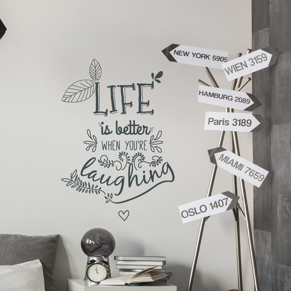 Life and laughter Floral Wall Quote Sticker