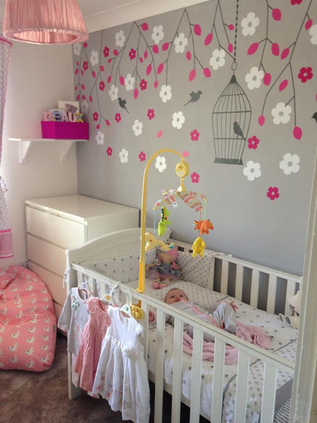 Nursery Hanging Blossom Branches Wall Sticker