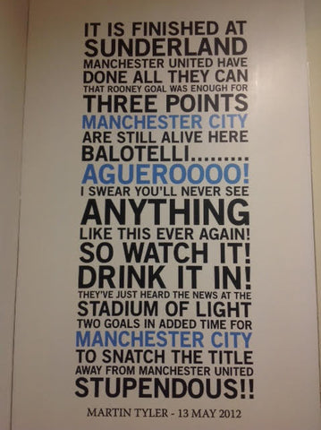 Manchester City Football Quote Wall Sticker