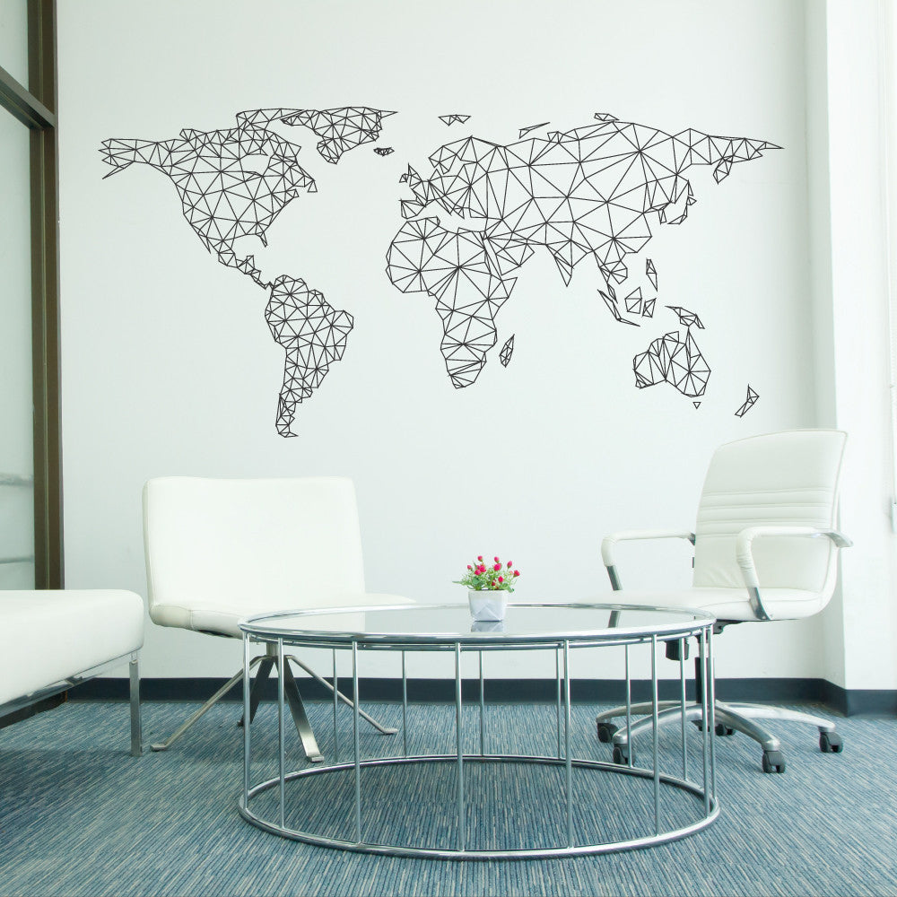World Map Network Wall Sticker Wallboss Wall Stickers