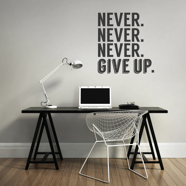 Never Give Up Office Wall Sticker