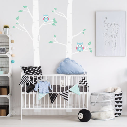 Nursery Birch Trees With Owls Decals
