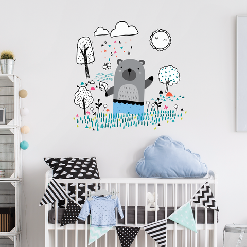 Nursery Woodland Bear Wall Stickers