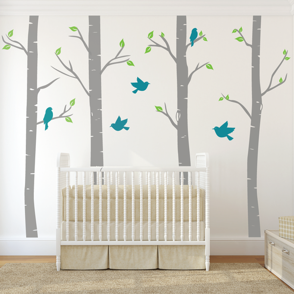 Nursery Birch Tree Wall Decals With Birds Wallboss Wall
