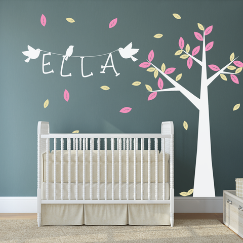 Delicieux Nursery Tree With Personalised Name Wall Sticker