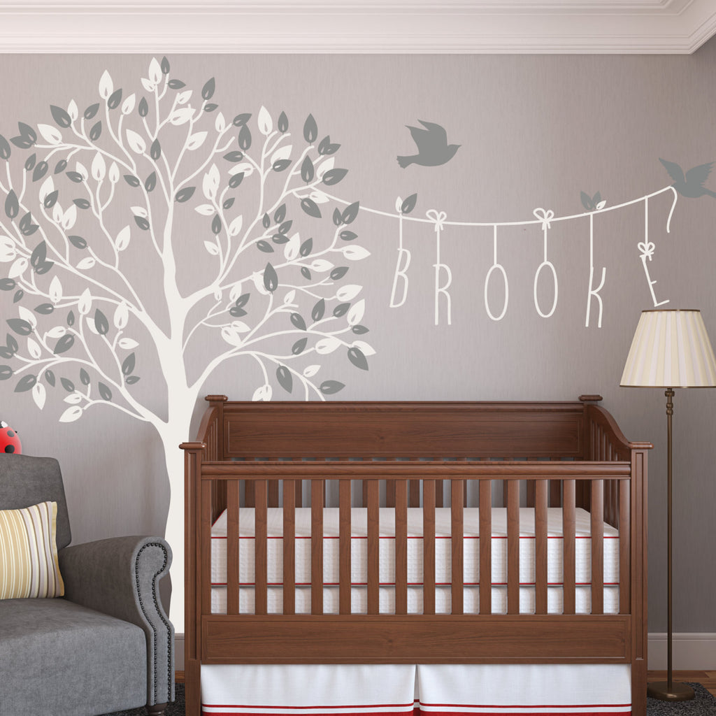 Name Wall Decals For Nursery Tags: Nursery Tree Wall Decal With Name