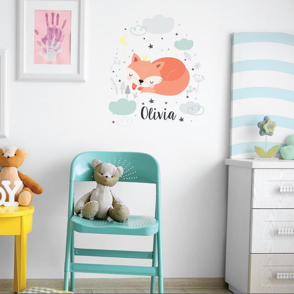 Sleeping Fox Personalised Name Wall Sticker
