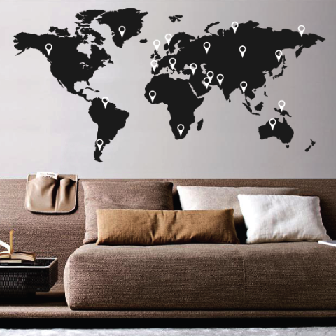 Wall Sticker World Map.World Map Wall Sticker Wallboss Wallboss Wall Stickers Wall