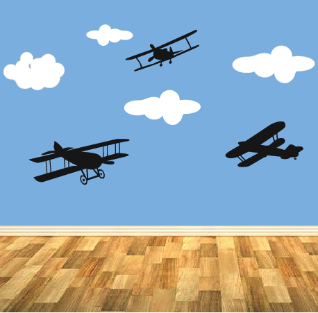 Planes And Clouds Wall Stickers
