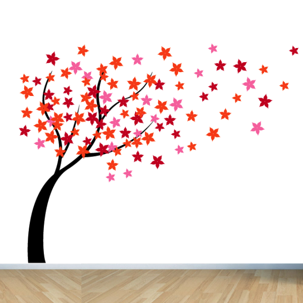 windy flower tree wall sticker for living room | blossom tree wall