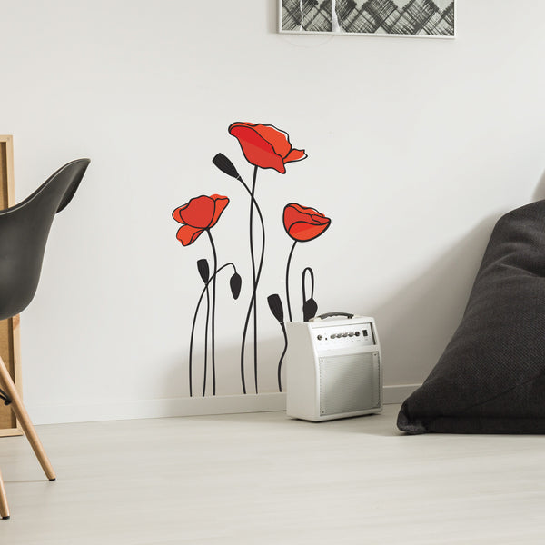 Poppy Flower Wall Stickers
