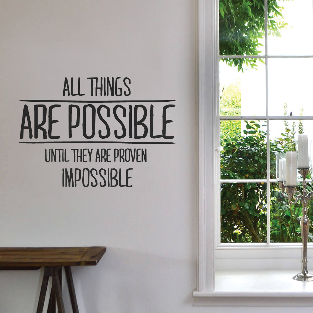 All Things Are Possible Wall Sticker Wallboss Wall Stickers