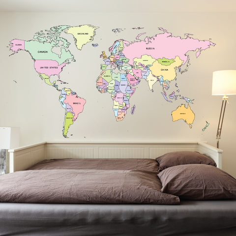 Map Of The World Decal.Printed Colour World Map Wall Sticker Wallboss Wall Stickers