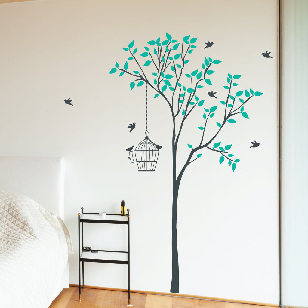 Tree flower wall stickers and wall vinyls by wallboss wallboss tree with bird cage wall sticker amipublicfo Gallery